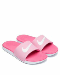 New Nike Girls Kawa Pink amp; White Slide Sandals GS PS Size 2 Youth $26.00