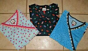 Mary Engelbreit Scrub Tops Lot of 3 Women#x27;s Size Large Blue Pink Navy Floral
