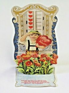 Antique Stand Up 3 D Die Cut Valentines Day Boy w Heart Loving Greeting 3753 $15.95