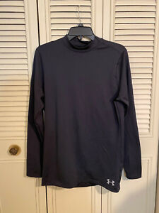 Under Armour Mens Coldgear Armour Fitted Mock Neck Shirt 1320805 Black Sz M $19.99