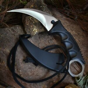 TACTICAL COMBAT KARAMBIT NECK KNIFE Survival Hunting BOWIE Fixed Blade w SHEATH $10.50