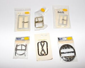 Six Vintage 1970s Sewing Belt Buckles by Majestic amp; Streamline New on Card Japan $34.99