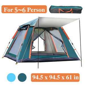 Portable 6 7 Person Camping Tent 3 Layer Waterproof Windproof 60s Set Up