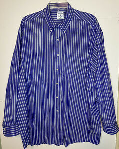Brooks Brothers Sport Shirt Mens XL Blue Stripe Button Up All Cotton Classic EUC $19.99