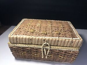 Vintage Sewing Basket Box Mid Century Woven Wicker Tan Notions Lot $17.00