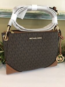 MICHAEL KORS NICOLE TRIPLE COMPARTMENT SMALL CROSSBODY BAG BROWN LUGGAGE MK SIG