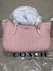 NWT Coach F73978 Quilted Leather Ally Satchel Purse Bag Pink 100% AUTHENTIC