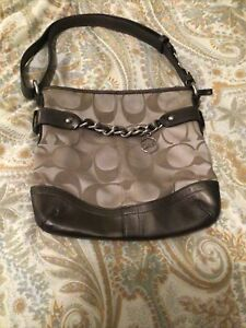 Coach Purse Bronze With Tan Fabric. Very Nice Condition