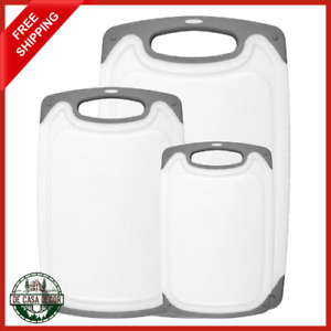 Cutting Board Set 3 Piece Durable Plastic Construction Non Slip Handles White $22.99