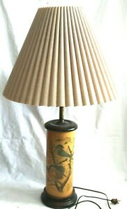 VTG #2 of A Series of Paintings by Arthur Singer Wood Table Lamp Beige Shade $44.99