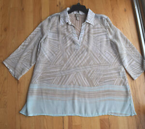 CHICOs sheer beige tan v neck collar ¾ sleeve top blouse size 2 ¾ sleeve $24.99