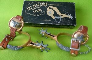 RARE Vintage 24K GOLD Plated BUCKN BRONC SPURS in Original BOX With STRAPS