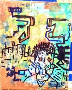 ABSTRACT MODERN STREET ART ORIGINAL SIGNED FRAMED PAINTING ACRYLIC ON CANVAS $35.00