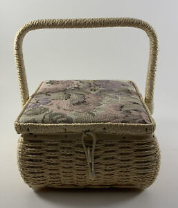 Vintage Small Sewing Basket with Tapestry Quilted Top. Cream Colored Basket $29.95