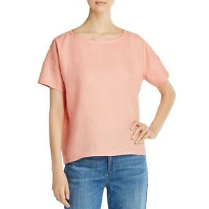 Eileen Fisher Womens Orange Linen Bateau Neck Shirt Top S BHFO 0575 $25.99