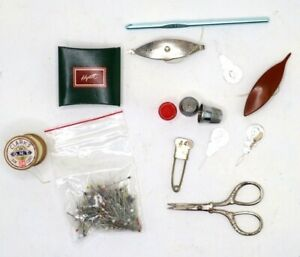 Vintage Variety Of Sewing Items Lot Thimbles Scissors Wooden Spool Pins etc $22.00