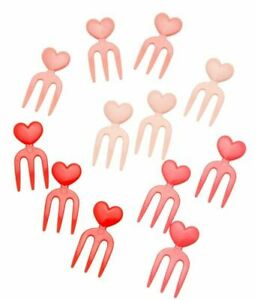Torune Lunch Decoration Bento Accessory Food Forks Pick Pink Red Hearts 12 pcs
