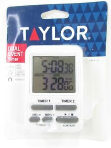 Taylor Clock Dual Event Digital Timer Kitchen Workout Magnetic NEW $9.75