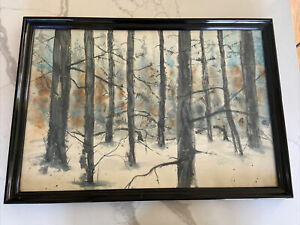 VTG Signed Carter MID CENTURY Watercolor Original Painting Winter forest Framed $49.00