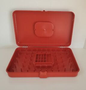 Sewing Thread Box Wilson Wil Hold Rust Color Plastic Vintage Storage Made in USA $25.00