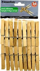 Essentials Wood Clothespins Wooden Laundry Large Springs Regular 36 Pieces $6.79