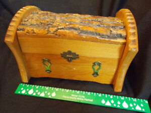 Wooden Box Treasure Chest Live Edge Hand Made Trunk Small Jewelry $18.00