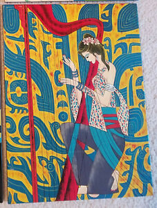 Hand Painted Lacquer Portrait Wall Art Painting Woman Harp 12x16 $10.00