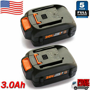 2 Packs For WORX 20V 3.0Ah MAX Li ion Battery 20Volt WA3520 WA3525 WG155 WG545