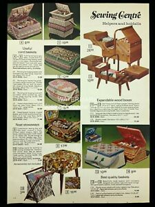 1973 MCM Sewing Baskets Expandable Wood Boxes Stowaways Print Advertising 572A $14.50