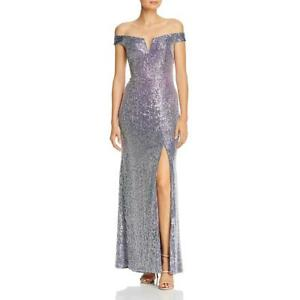 Aqua Womens Sequined Off The Shoulder Formal Evening Dress Gown BHFO 6447 $28.79