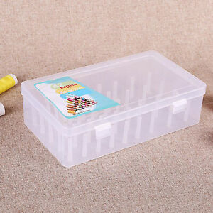42 Compartments Sewing Thread Holders Storage Box Clear Plastic Organizer Case $10.11