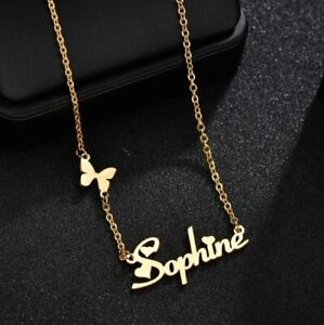 Fashion Customized Name letter Heart Butterfly Pendant Stainless Steel neckless $10.97