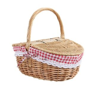 Picnic Basket Hand Made Wicker Camping Shopping Storage Hamper and Handle Wooden