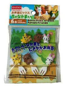 3D Forest Friends Animals Food Fork Pick Lunch Bento Accessory 6pcs