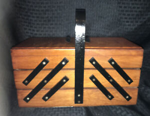 Vintage Wooden Sewing Box Accordion Expandable Table Top Storage Decor Box $29.99