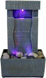 Tabletop Water Fountain Indoor Waterfall Color Changing LED Light Rainfall Relax $19.95