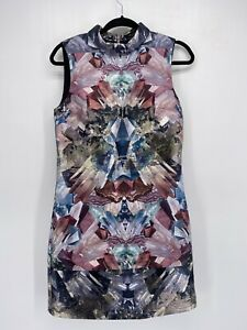 Ted Baker London Metallic Gem Print Mirrored Kaleidoscope Fold Over Collar Dress