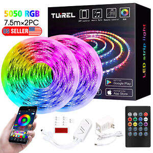 50FT Flexible SMD5050 LED Strip Light Bluetooth Remote Fairy Light Room Party $36.99