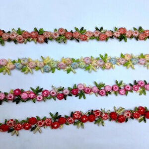 2yards Floral Lace Flower Trim Embroidery DIY Sewing Ribbon Finishes Craft Decor $7.97