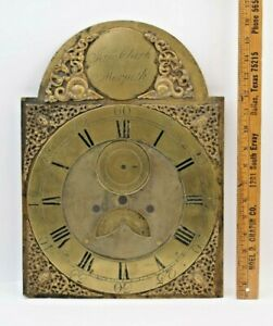 ANTIQUE ENGLISH JAMES CLARK MORPETH BRASS ARCHED DIAL CLOCK FACE C. 1750 1780