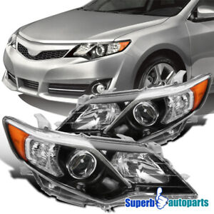 For 2012 2014 Toyota Camry SE Style Shiny Black Projector Headlight LeftRight $136.98