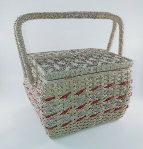 Singer Sewing Basket Embroidered Vintage Wicker Craft Container $24.97
