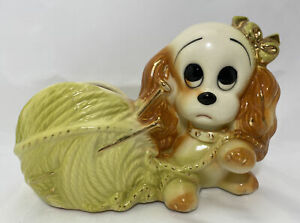 1950#x27;S HULL Planter #88 Puppy Dog With Yarn Knitting Needles Vintage Porcelain $29.95