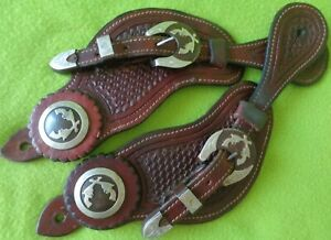 MENS Top QUALITY Tooled Leather  SILVER Mounted WIDE Buckaroo SPUR STRAPS NR