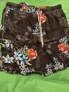 Carribean Joe mens travel pattern swim trunks Mesh Lined With Pockets size Large $9.00