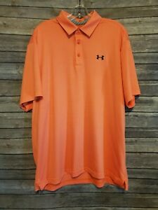Under Armour Golf Polo HeatGear Loose Peach Orange Athletic Mens Size XL $24.99