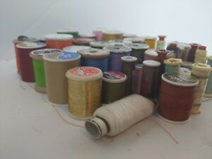 Lot of 46 Vintage Thread Spools Various Brands amp; sizes jamp;p coats clarks talon $34.99
