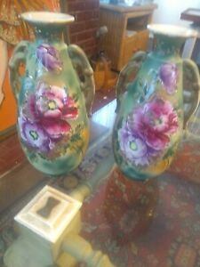 PAIR OF JAPANESE SATSUMA POTTERY HANDLED LARGE VASES JARDINIERES