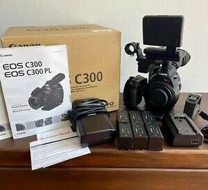 Canon C300 Camcorder EF mount W Monitor SIX Batteries FREE SHIP 707 hours $1500.00