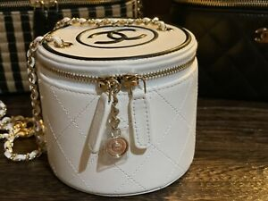New Round Chanel Mini Vanity 21S Collection with Tag White $3100.00